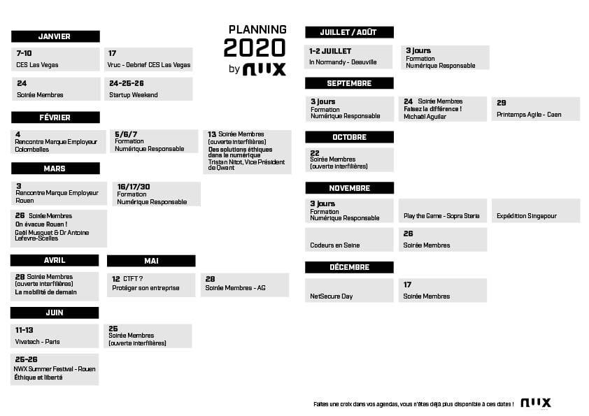 Planning événementS 2020 NWX